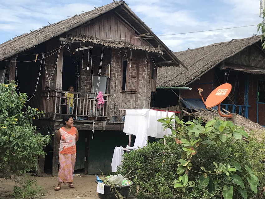 A traditional house - in this part of the world at least. On stilts, with animals, washing, cooking bikes etc underneath, and living quarters above. In the countryside it's similar, minus the satellite dish.