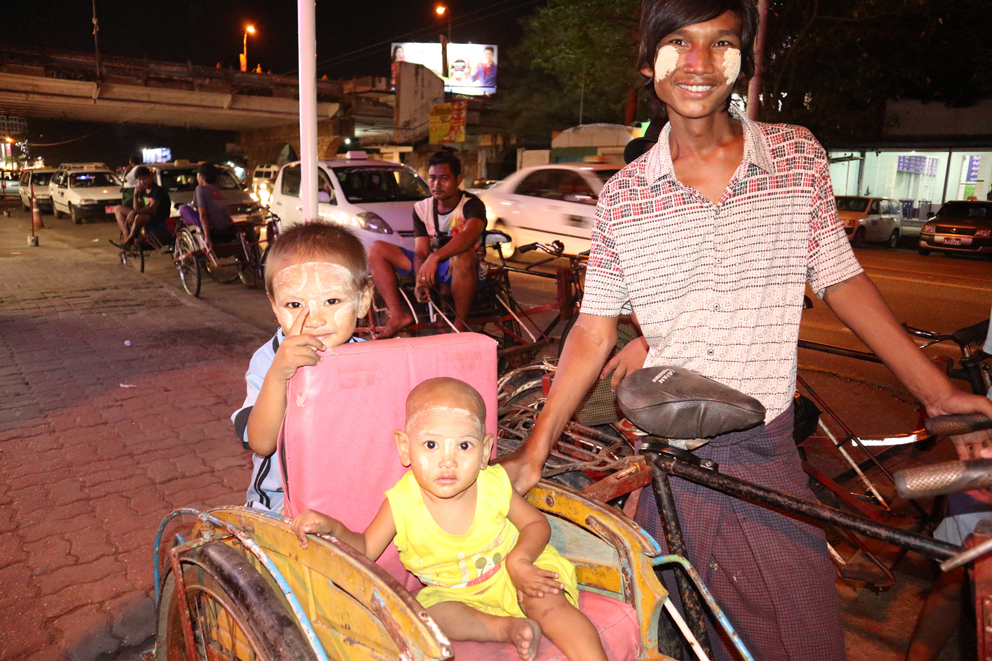 Cycle rickshaw drivers are always skinny and poor, and it must be a shit job, particularly in Myanmar's heat. And feeding his two children on what this guy earns must be a nightmare. But look how smiley he is, showing off his kids.