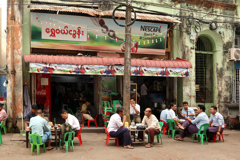 A typical Burmese tea shop