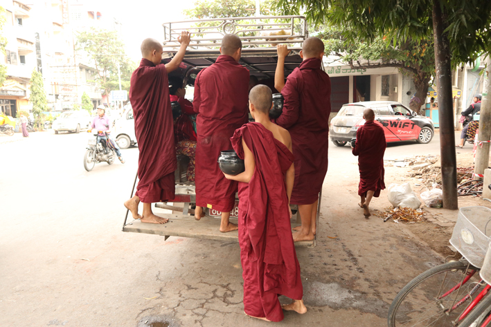 Travelling light: monks often get to travel for free, but that doesn't mean luxury transport...