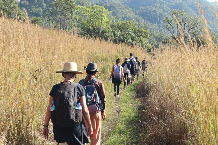 Our Christmas trek. Note my new handwoven hat, bought no expense spared ($2) in a village store outside Pathein