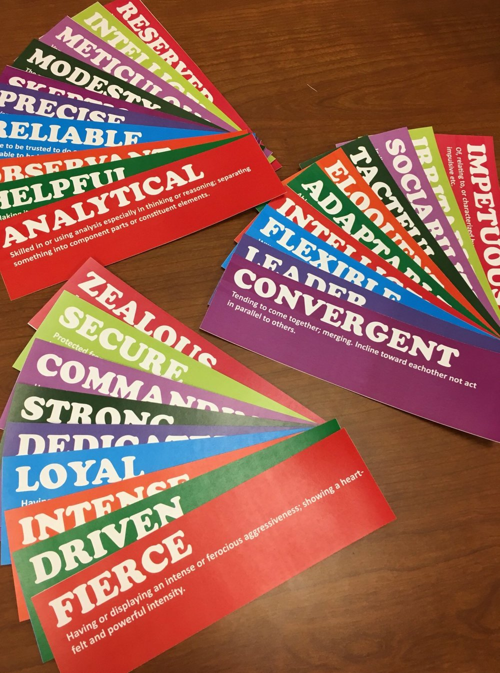 - One of my most successful team building activities was an attribute card exercise revolving around each team members zodiac sign. I got everyones sign and printed these cards with each signs top 5 common attributes. The colors are randomized and there are some duplicates. As you can see in the image above I taped all of them onto a whiteboard and tasked everyone to identify what they thought were their own 5 cards. Afterwards I gave a description of each zodiac sign within the team, individual signs were unknown to everyone else. I then challenged everyone to match cards to each team member as a group. The last step was to identify which sign each member was which was incredibly successful even with one incorrect sign being used. To conclude the activity we spent time discussing what attributes were most present in each member and how it relates to our department. I then had everyone go around and comment on how important these attributes were to working together as a team and taking action to improve or continue working towards them. The cards also acted as great artifacts that most people posted in their cubicle reminders.