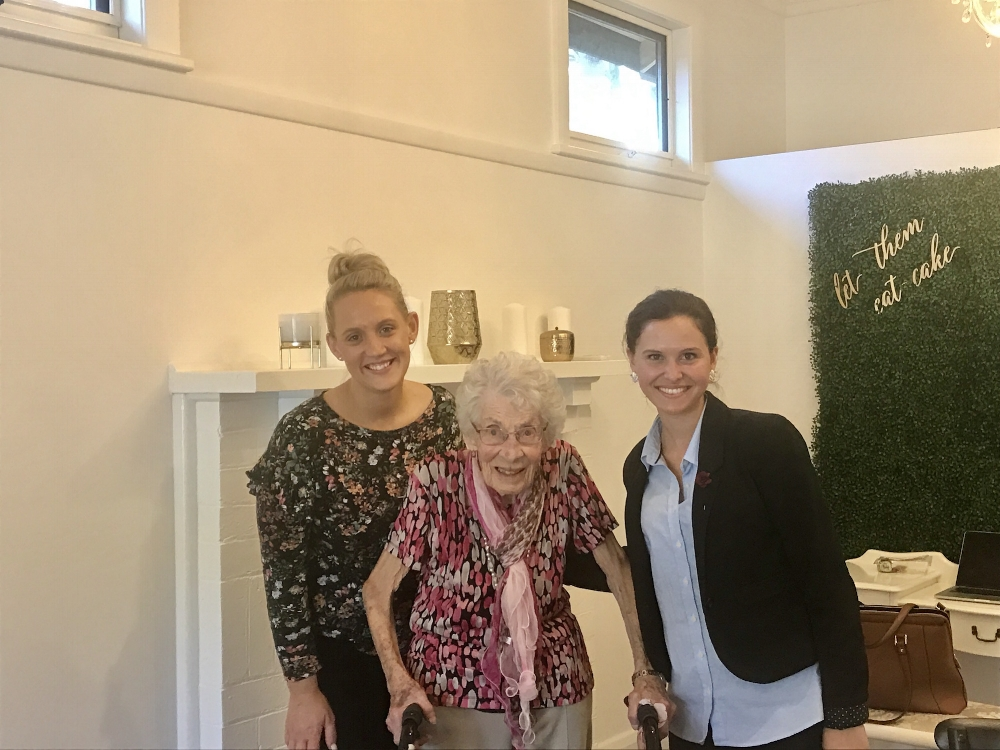 Ina (98 years old) with Mary's founders Jess & Sarah