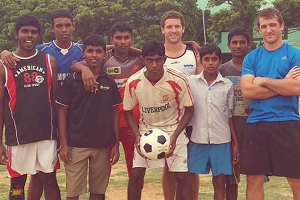 Rhys Jack standing in Sri Lanka Volunteering.