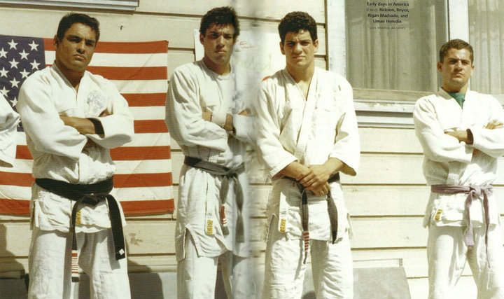 Rigan (Centre Right) with Rickson Gracie (Left) and Royce Gracie (Centre Left).