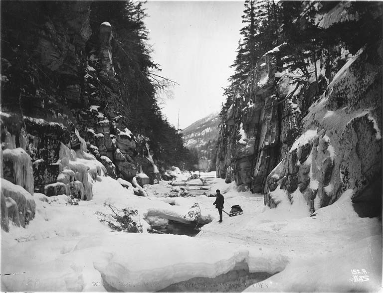 White Pass Trail through Box Canyon on the Skagway River, Alaska, ca 1898