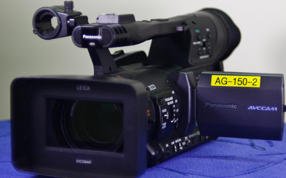 PANASONIC HMC 150   Full HD camera with flip out LCD Display, Dual XLR mic inputs. Offers various features that can be used in a studio environment or on the go.
