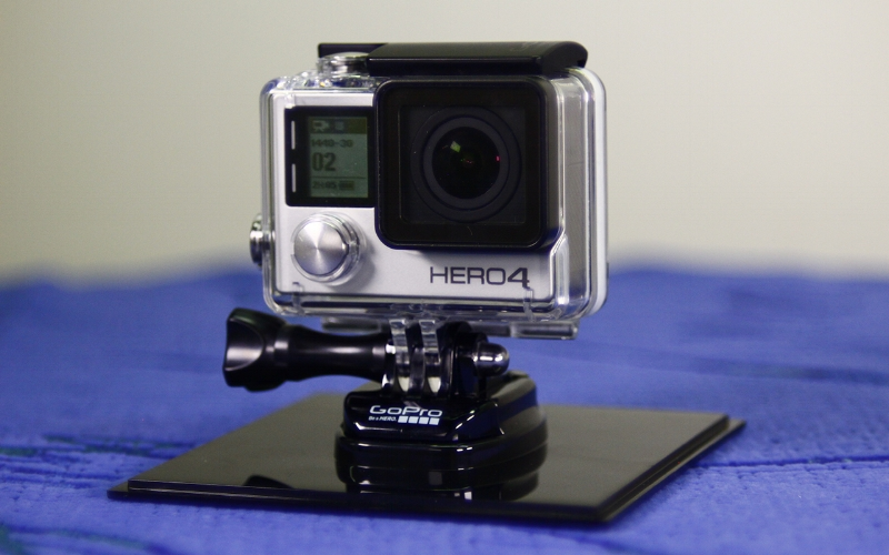 GO PRO HERO 4 Why hello there little guy!  The GoPro HERO 4 comes in a nearly indestructable casing and is water proof. This camera offers a different perspective on film making, but can add just the right touch to any production. Cameras available to members after required class has been taken.