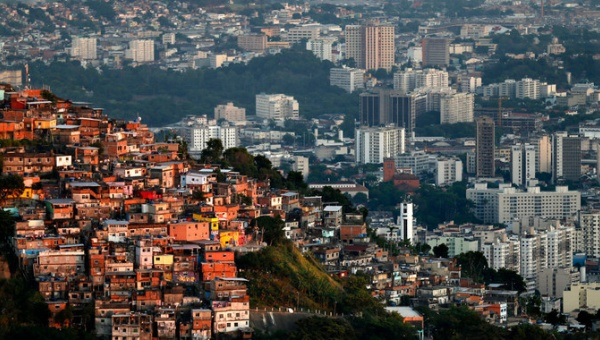 Skyline of Rio de Janiero, where manufactured austerity associted with neoliberalism has accelerated inequality in ways that have become conspicuously difficult to hide.