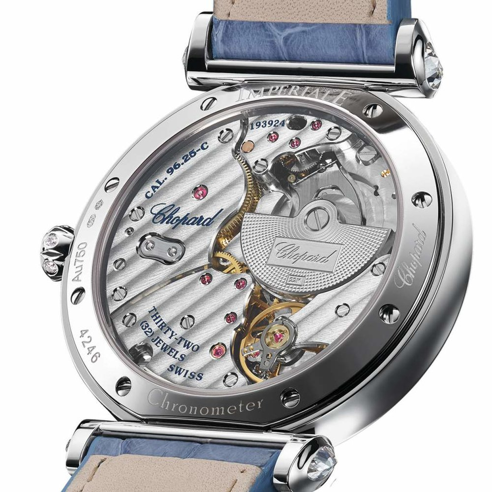 The Chopard Imperiale Moonphase shows off its L.U.C 96.25-C movement with micro rotor