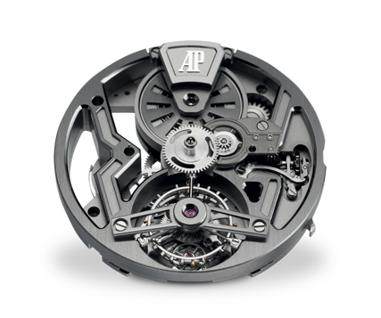 Front view with tourbillon and openworked barrel