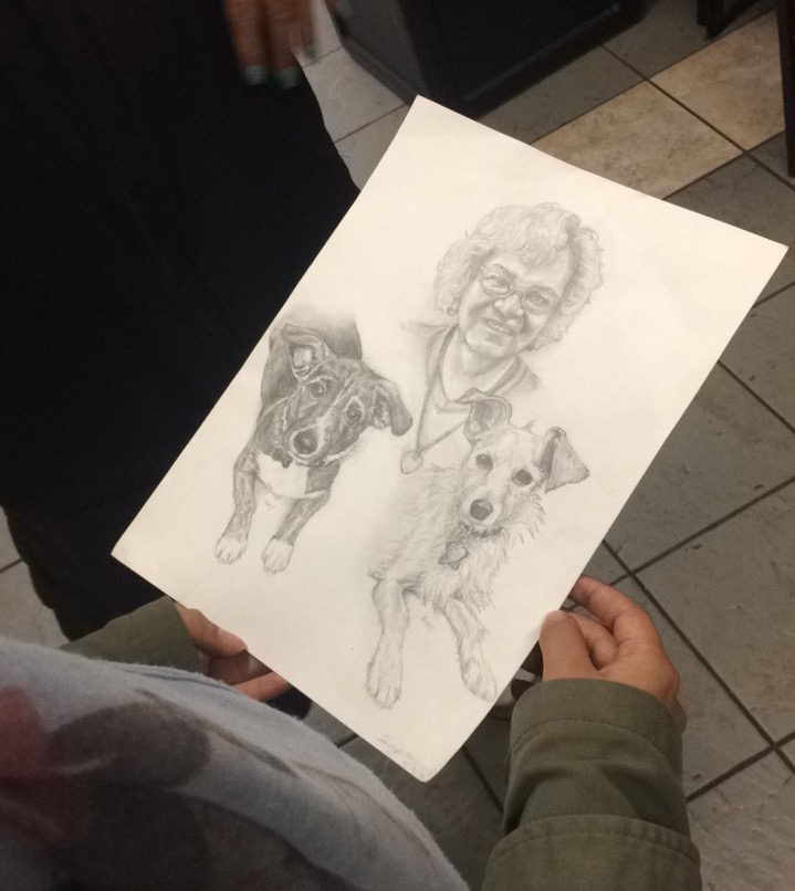 "This portrait was drawn by a night guard for Ms. Tomas, a trans resident with her two dogs. We were inspired by this gesture of ""giving"" and the focus on the individual."