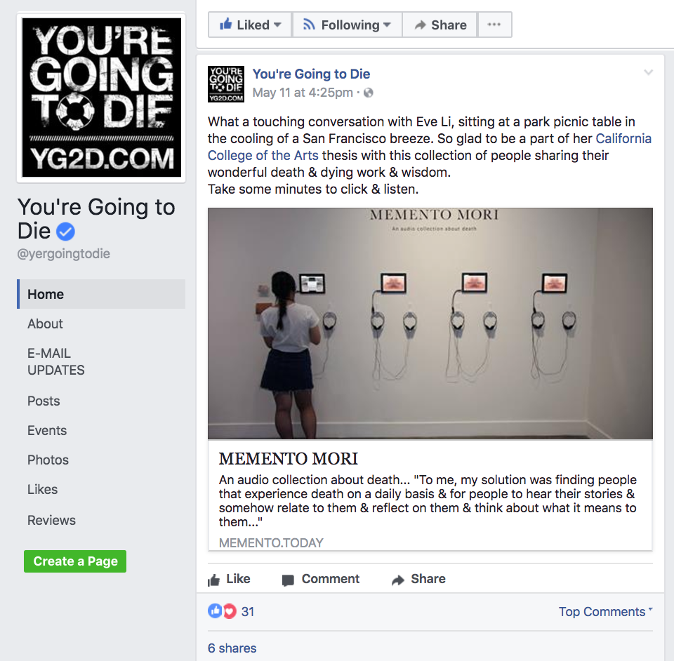 Honorable mention by  You're Going to Die , a open mic event held by my interviewee Ned Buskirk.