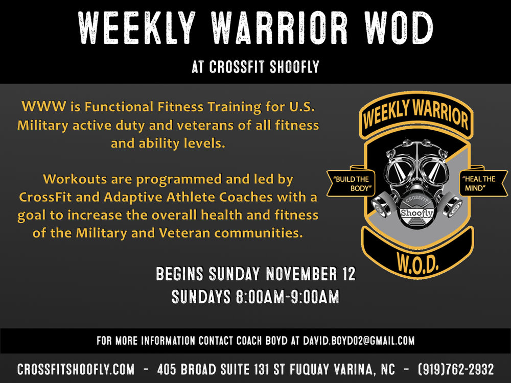 Veterans and active duty military members come in every Sunday at 8:00am for a FREE workout led by certified adaptive athlete coach. Build the body, heal the mind.