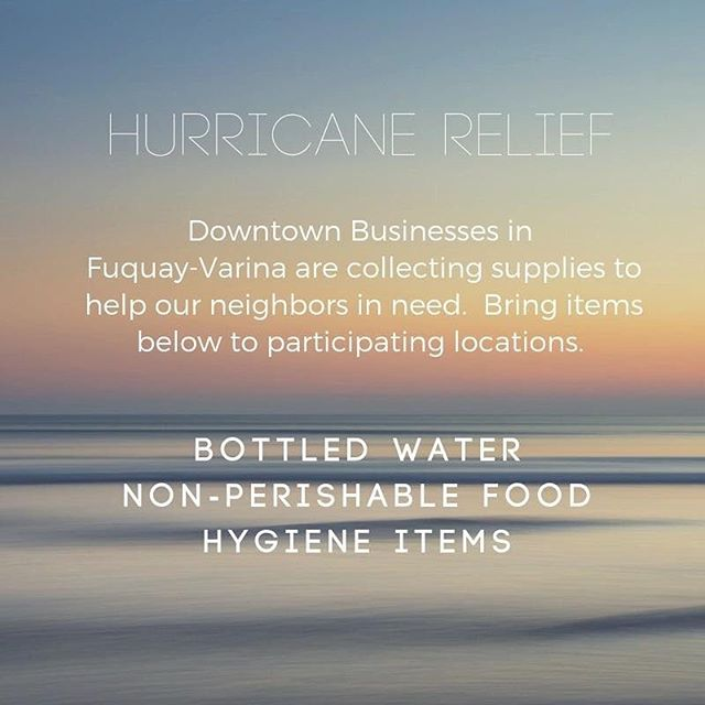 We are accepting these items as a drop off location today and tomorrow. We have been lucky to dodge Florence but our surrounding areas have not been. Please considering donating bottled water, canned food, and hygiene items. Time to rally to help those most affected by the hurricane! #community #dogoodwork #shooflystrong #fuquayvarina #fvdowntown #wearefv #hurricaneflorence