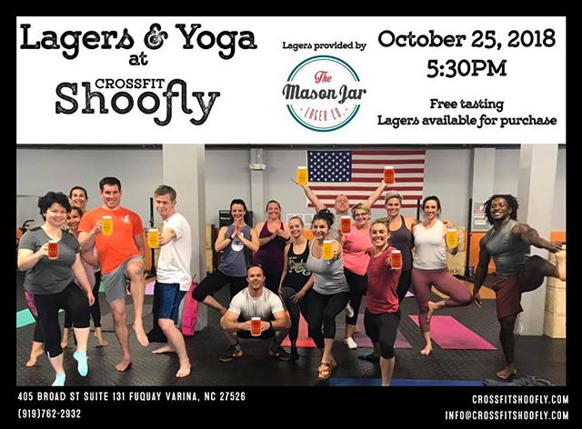 Do not miss out this Thursday at 5:30pm we have Lagers and Yoga!! Come try some great lagers and learn how they are brewed from @masonjarlagerco while flowing with @jenfortin_yogafitness !  #crossfit #beer #lageryall #yoga #fvdowntown #fuquayvarina #fvdowntown