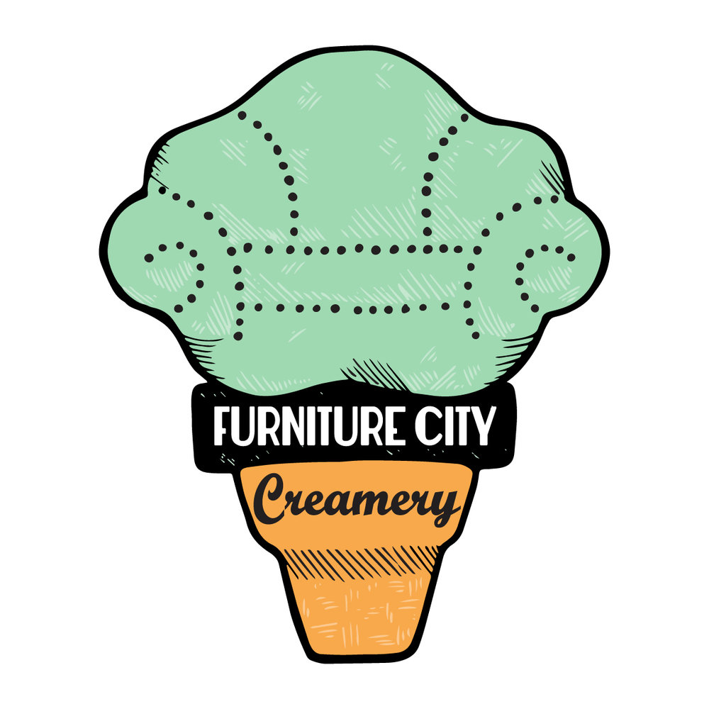 Furniture City Creamery   After assessing their original brand, we worked closely with FCC to create an updated logo, fun characters of their dogs, chalkboard menus, and lots more!  Click the logo for more!