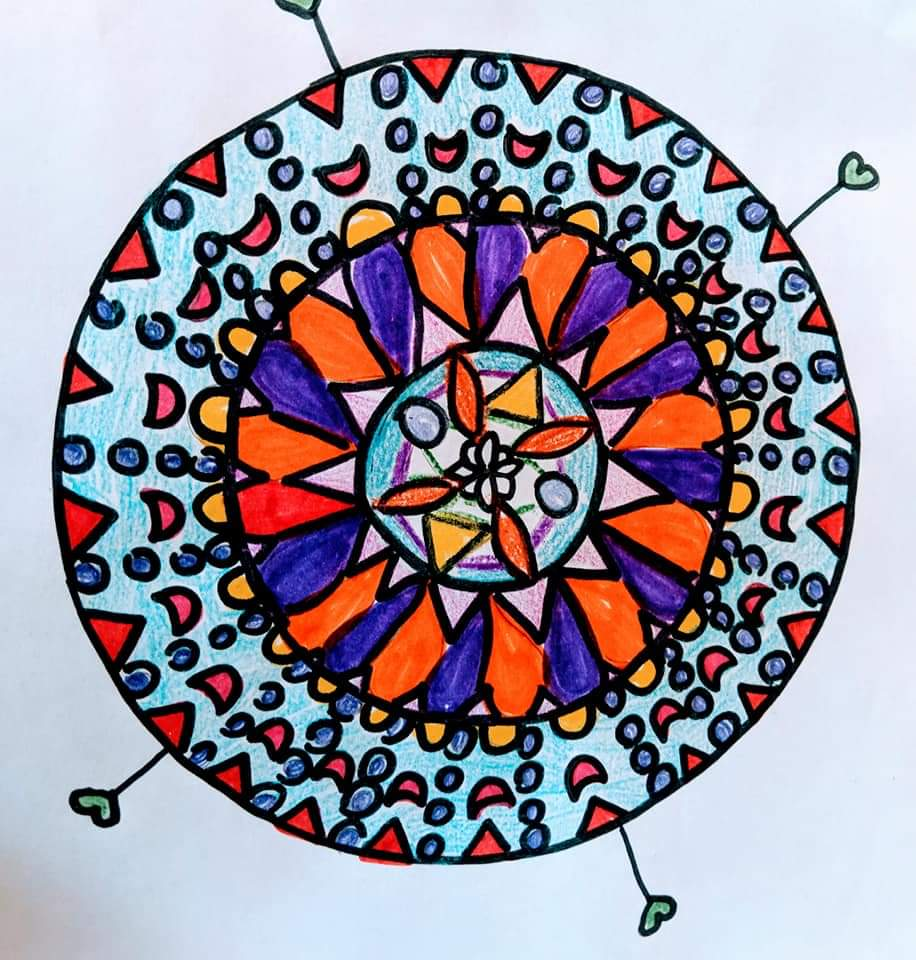 - Here is the result of one of the mandalas my 10 year-old-son, Quinn, and I created by following the tutorial above