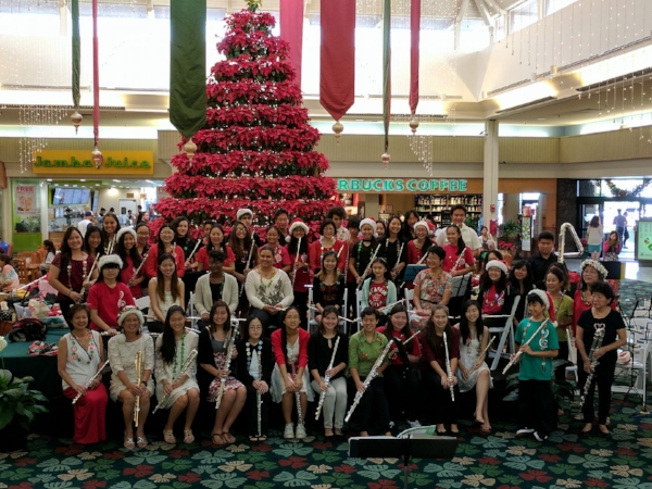 18th Annual Christmas Flute Choir at Kahala Mall in Honolulu from the Hawaii Flute Society