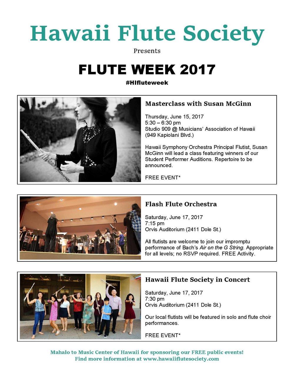 Hawaii Flute Fair Poster 2017