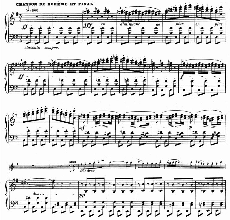 "Editor's Note: In ""Carmen,"" the opera, the opening of ""Chanson bohème"" is played by two flutes. In some editions of ""Carmen Fantasy,"" you will see the top line of the piano given to the solo flute. However, this is NOT what Borne originally wrote."