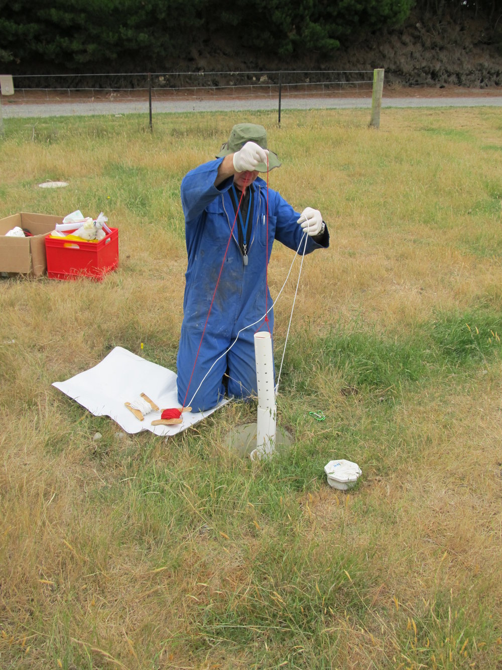 Sampling at one of our well array sites in Canterbury