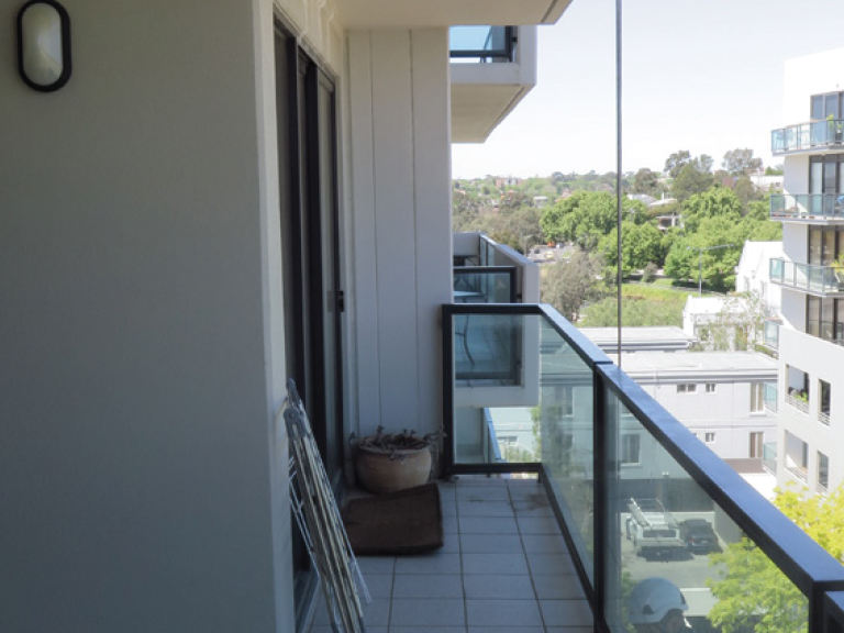 Typical balcony, showing water penetration thru slab above the window