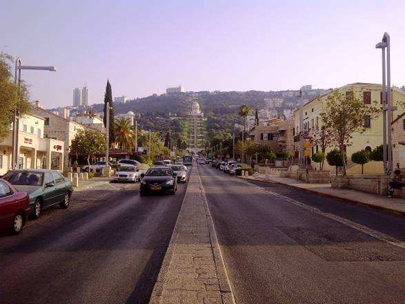 View of the Shrine of the Bab from Ben Gurion Avenue, Haifa, Israel