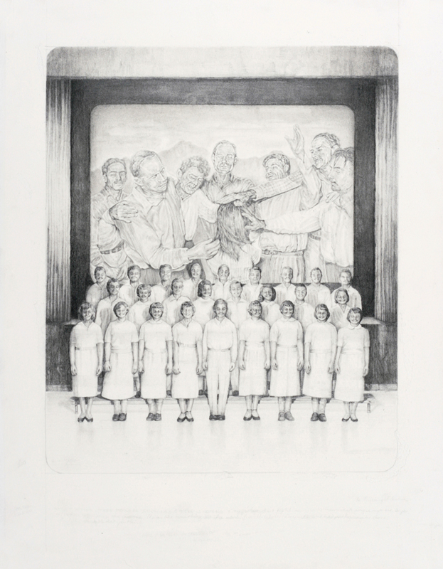 'Do as we do' - graphite and carbon pencil on layered watercolour paper, 41x55cm, 2012