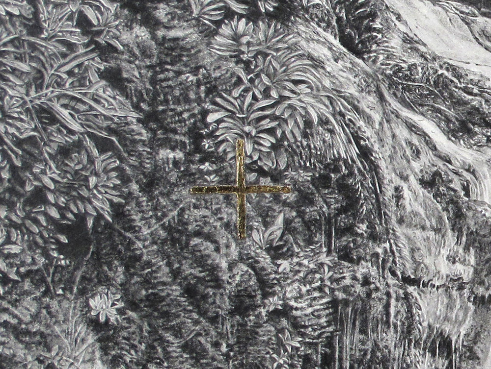 'Immaculate Landscape V' (detail) - graphite, carbon pencil and 24kt gold on paper, 53x40cm