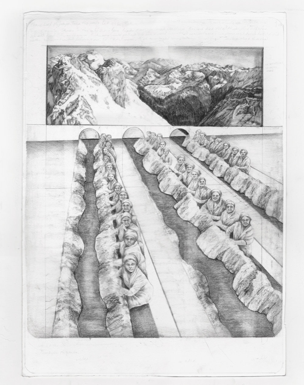 'View from the Observation Room' - graphite and carbon pencil on layered watercolour paper, 41x55cm, 2012