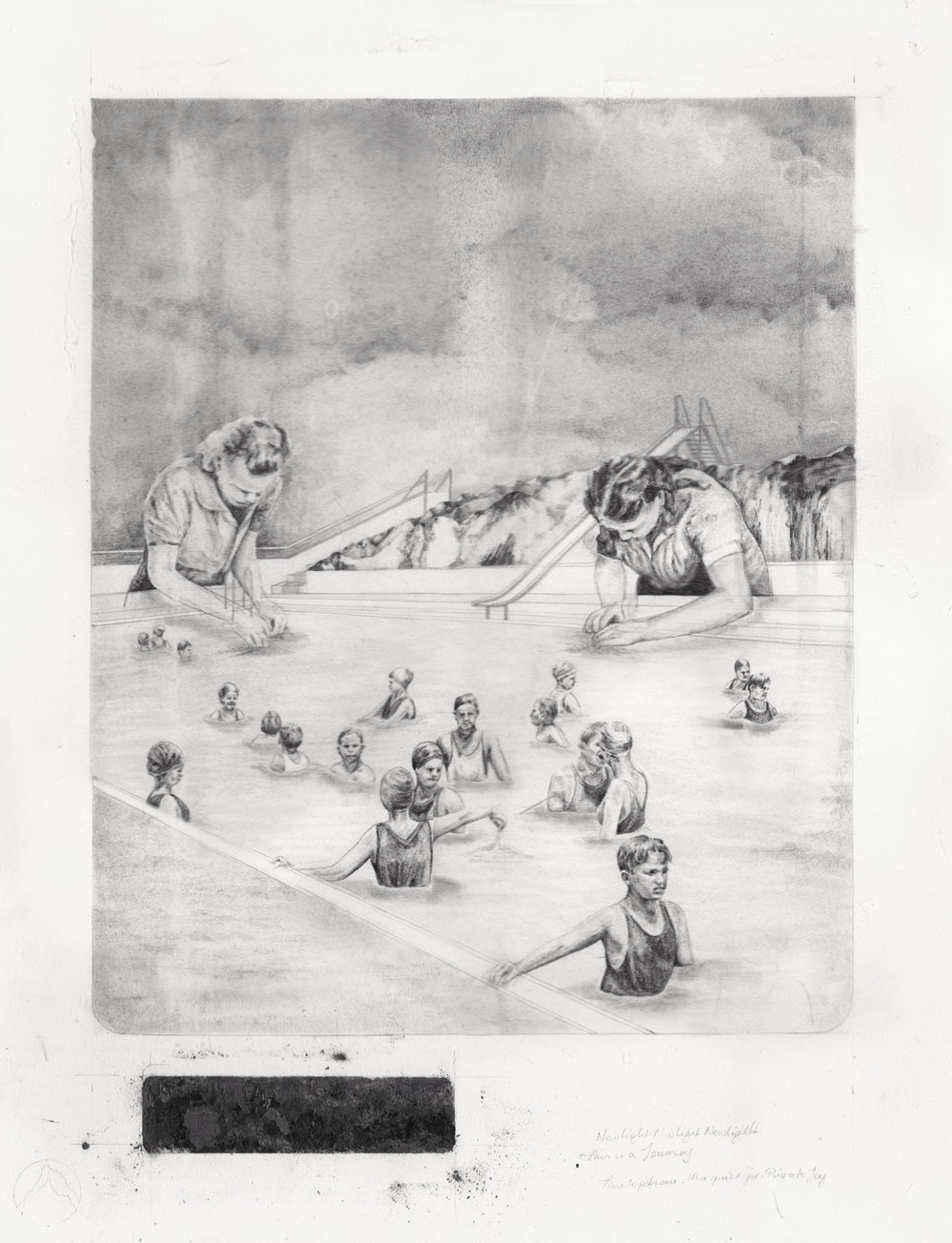 'The Test Pool' - graphite and carbon pencil on layered paper, 41x55cm, 2012