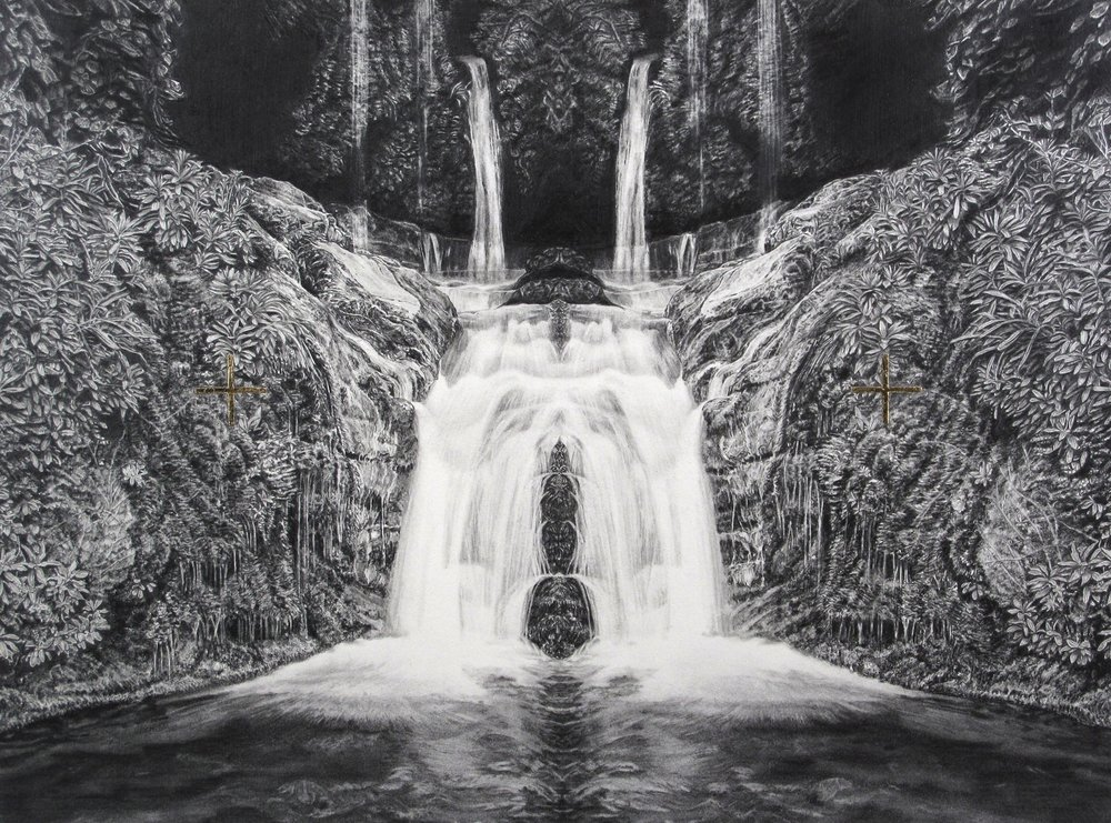Immaculate Landscape V - graphite pencil and carbon pencil on paper, 53x40cm, 2015