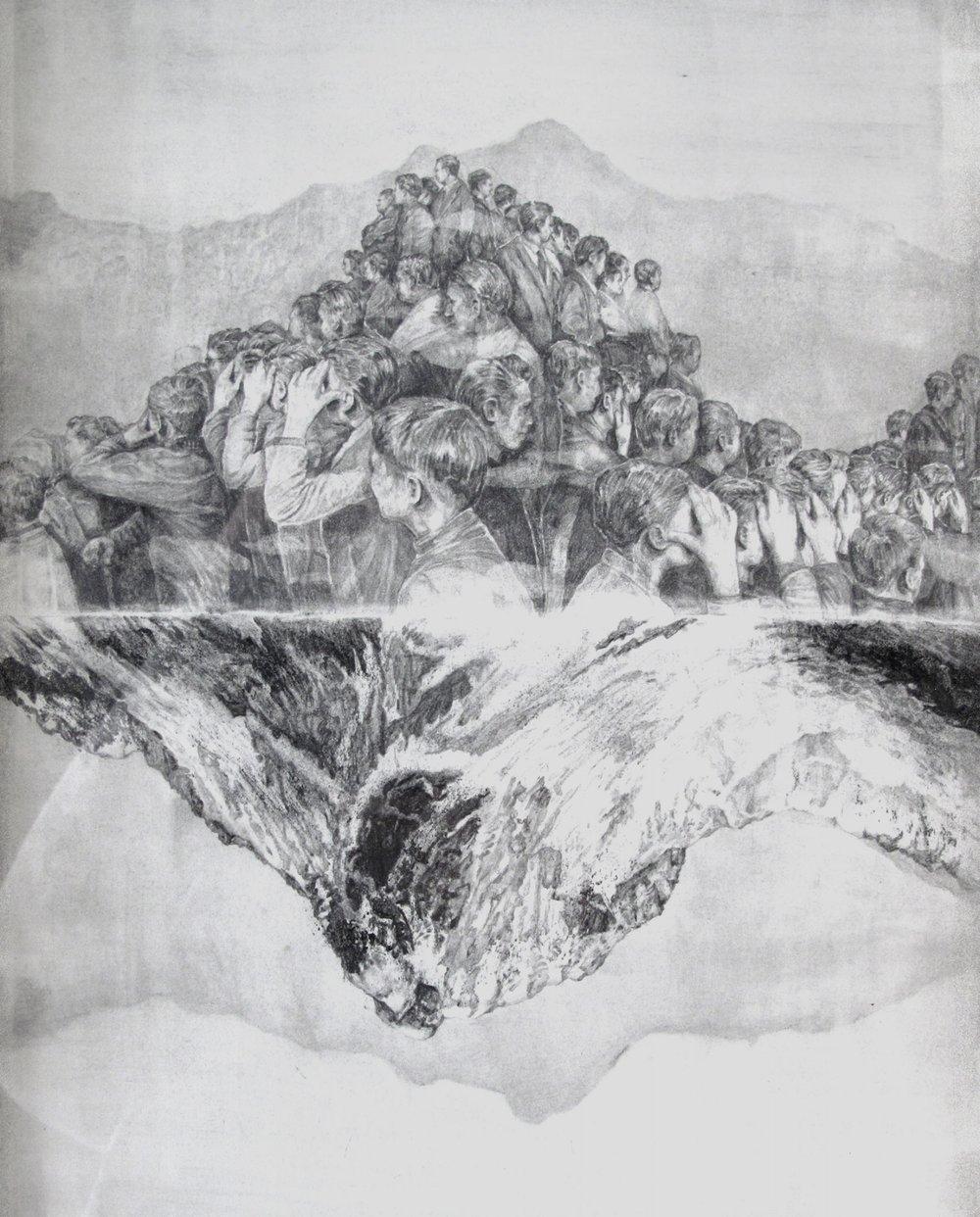 'Neutralisation' detail - graphite and carbon pencil on paper, 28x38cm, 2011
