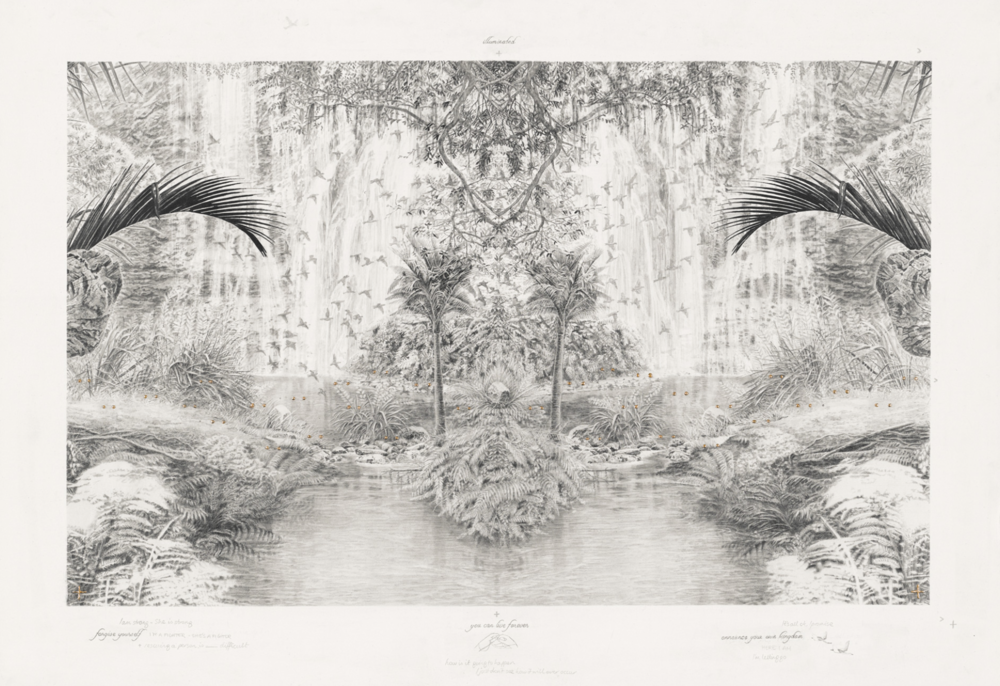 Becc Orszag - Immaculate Landscape V - graphite pencil and 24kt gold leaf on paper, 53x40cm, 2015
