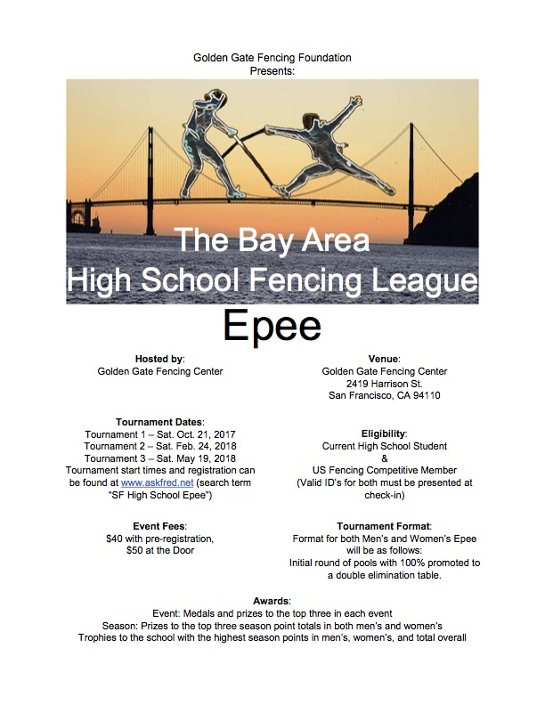 Bay Area High School Fencing League, Epee, Flyer.jpg