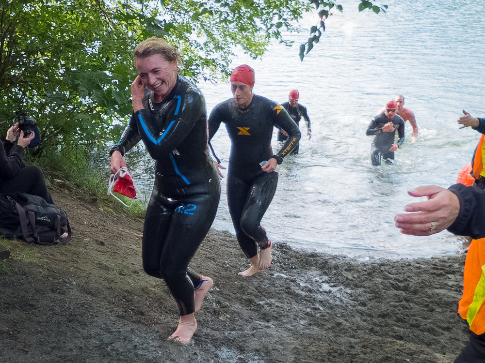 Nina Arnold Transitioning from Swim to Bike at the XTERRA Victoria