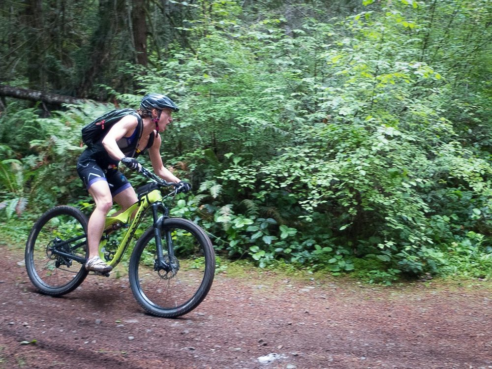 Emma Bishop Throwing Down on the XTERRA Victoria Mountain Bike Course