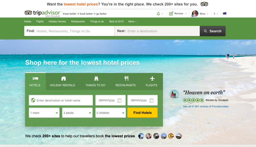 TripAdvisor is a major player in the tourism marketing game.