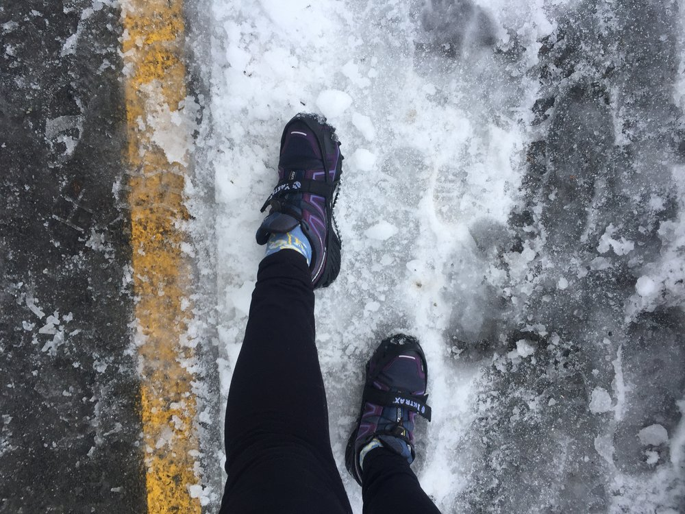 Yaktrax Pros paired with my Salomon Speedcross Trail Runners: The oh-so-stylish winter trail running set up.