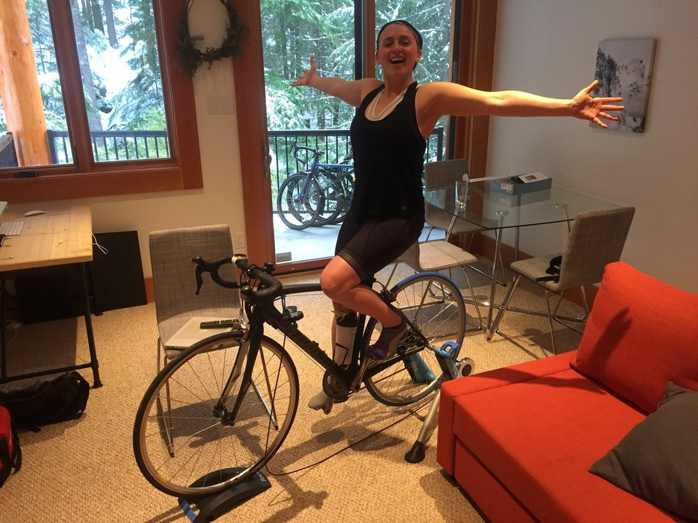 What an incredible birthday gift! A spin trainer to put my race bike on. Many thanks to my Whistler girl tribe and stellar husband.