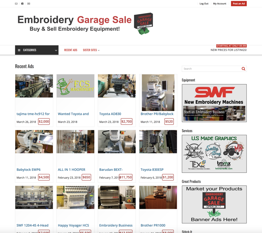 Embroidery Garage Sale - Embroidery Classifieds