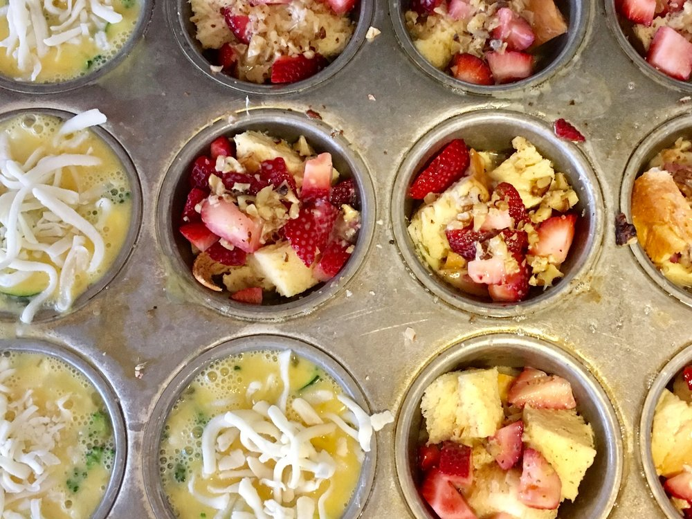 Left side: Make ahead and freeze egg bake - On the right French toast cup  with strawberries