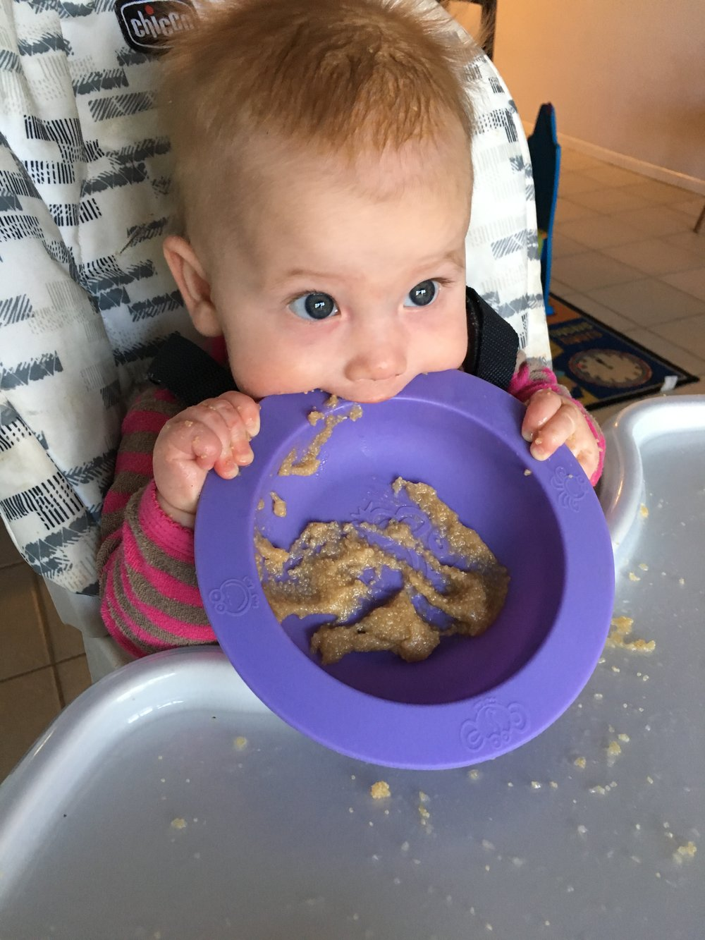 My 6 month old daughter loved her amaranth porridge (and the bowl!)