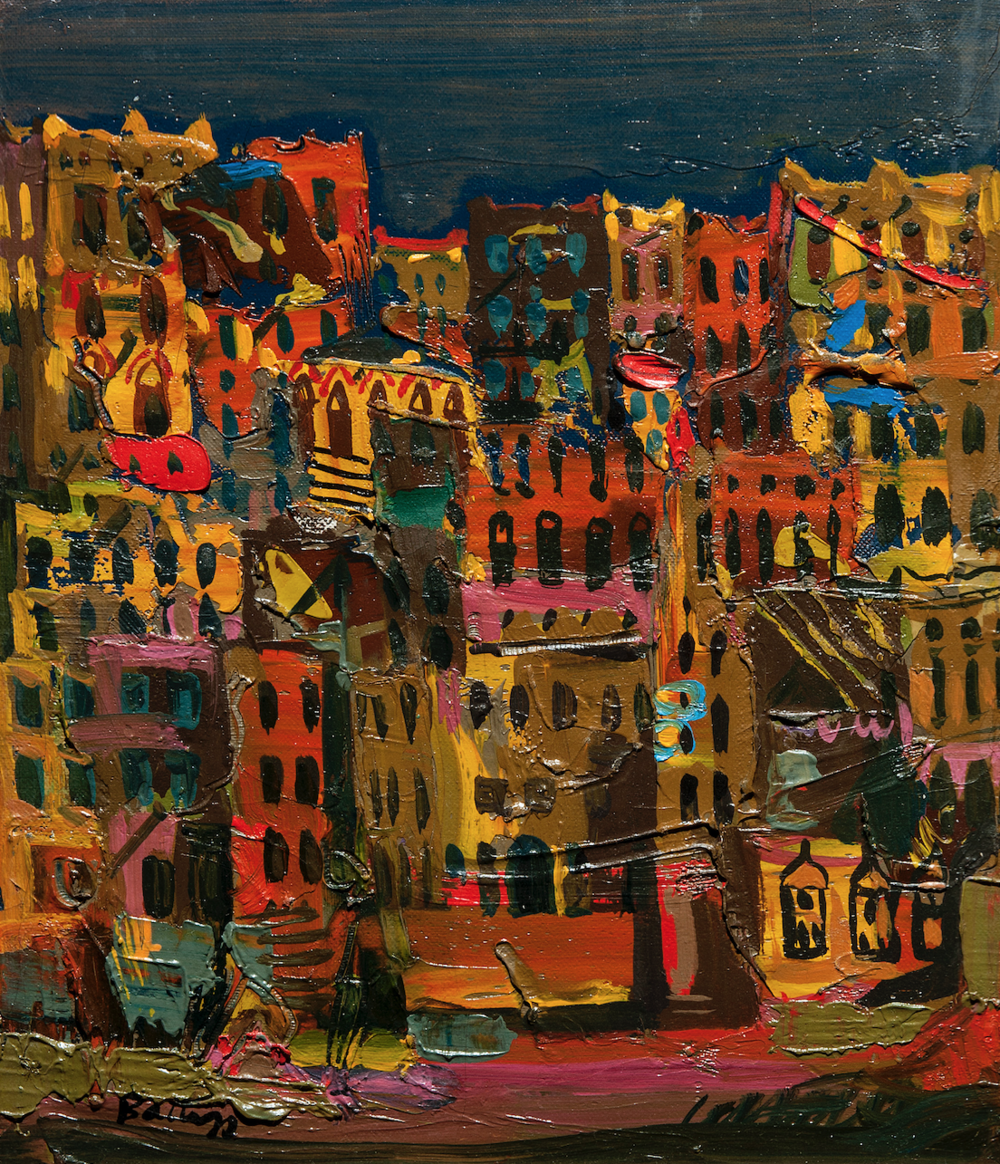 Walter Battiss.  Aden at Night , Hadhramaut. 1964. Oil on canvas. The Jack Ginsberg Collection