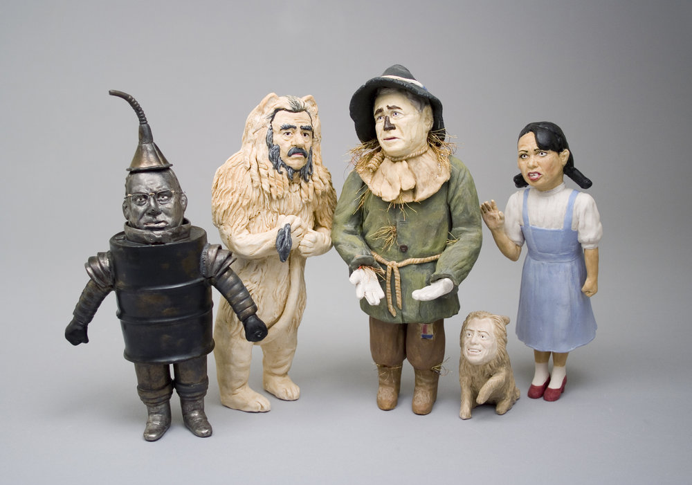 "Untitled (Wizard of Oz)    glazed Porcelain, wire, figures all <11"" tall  2006"