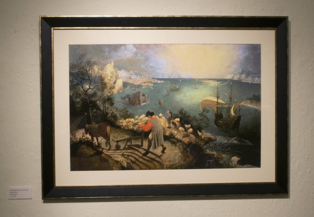 Landscape with the Fall of Icarus   (attributed to Pieter Bruegel, though likely a copy of a different original, 1560's)  Framed print from Art.com
