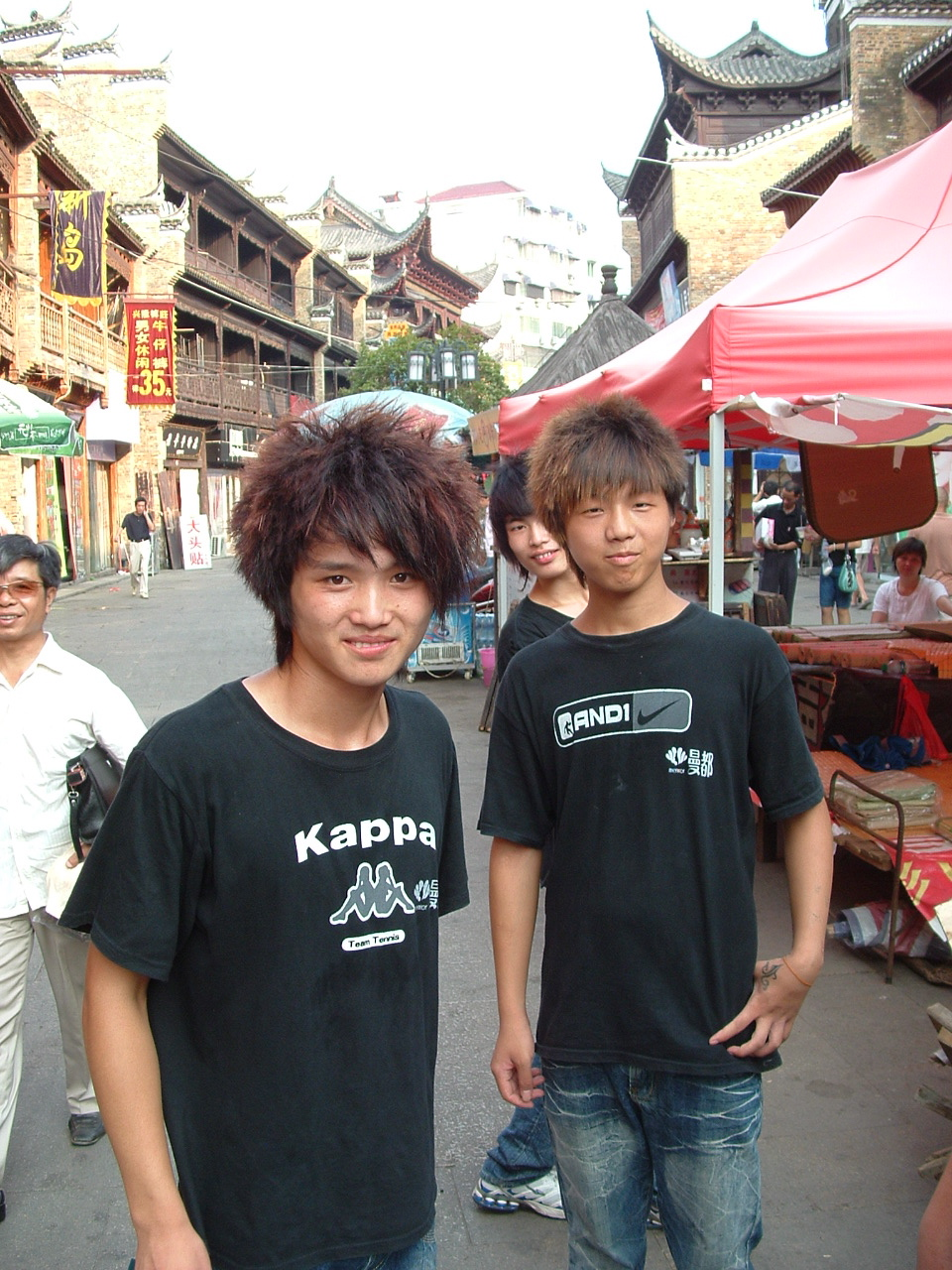 Teenagers hawking haircuts