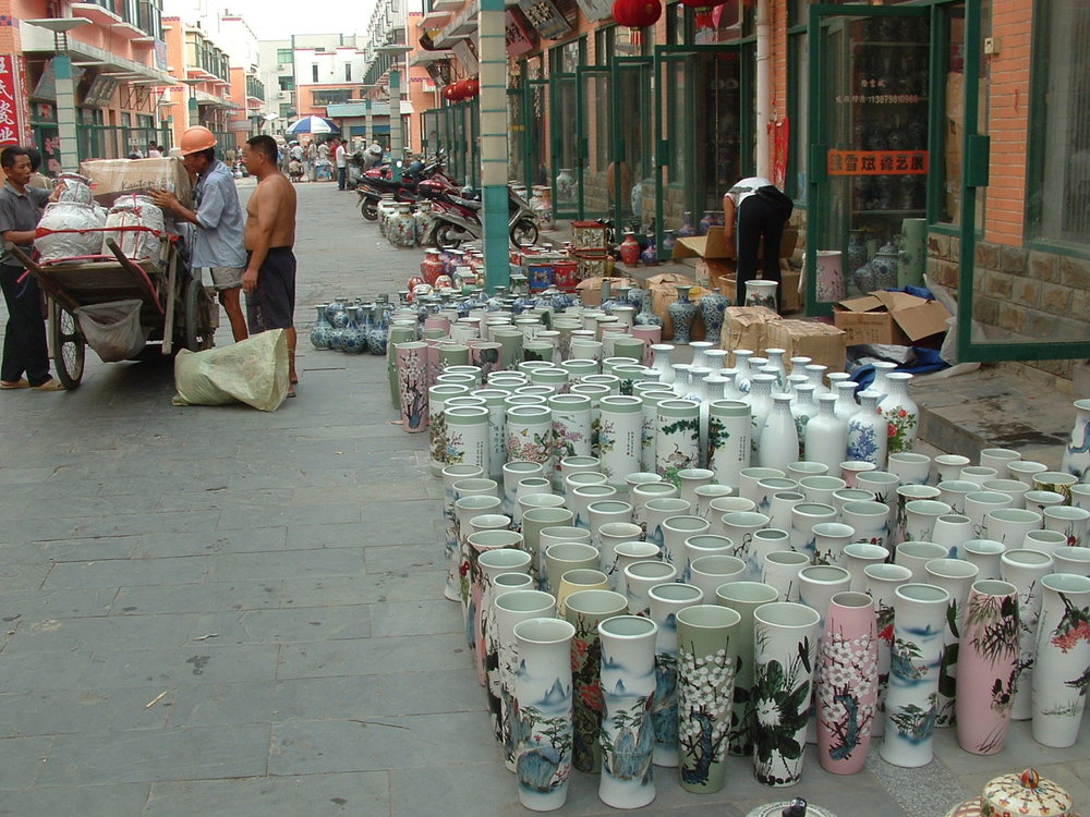 one of the outdoor pottery markets selling locally produced wares