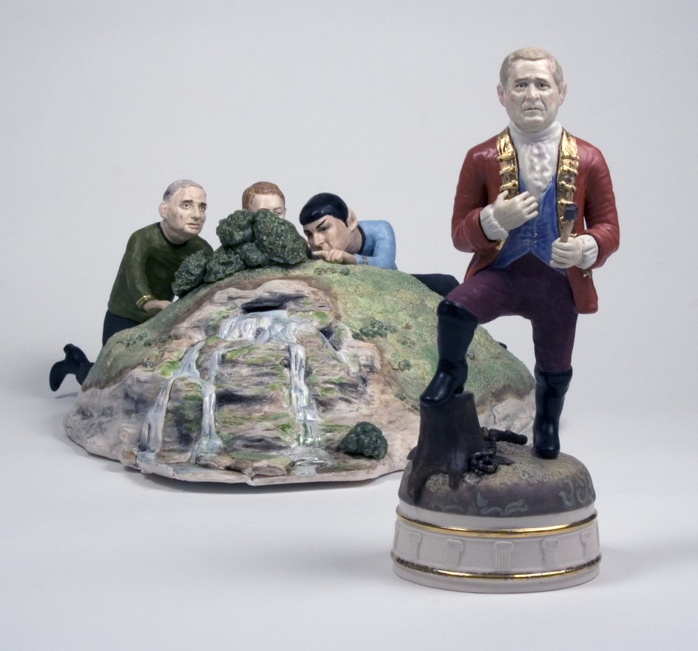 "Untitled Decorative Object #2.2 Starring Thom Yorke, Leonard Nimoy and Ralph Nader, with Special Guest George W.   Glazed porcelain, 12"" h x 18""w x variable depth  2007"